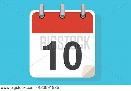 Day Ten. Simple Calendar With Date 10. Flat Calendar Icon Vector Illustration. Calendar Icon Flat Da