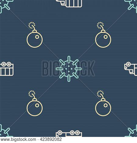 Set Line Military Truck, Bomb Ready To Explode And Naval Mine On Seamless Pattern. Vector