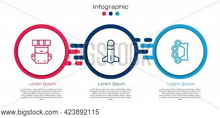 Set Line Hiking Backpack, Rocket And Brass Knuckles. Business Infographic Template. Vector
