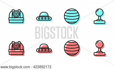 Set Line Planet Venus, Astronomical Observatory, Ufo Flying Spaceship And Joystick Icon. Vector