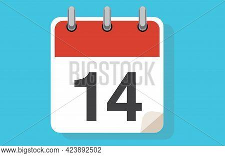 Day Fourteen. Simple Calendar With Date 14. Flat Calendar Icon Vector Illustration. Calendar Icon Fl