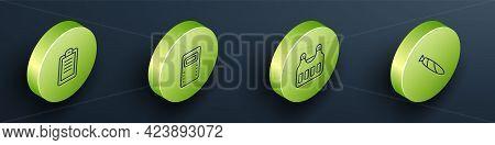 Set Isometric Line Police Report, Assault Shield, Bulletproof Vest And Marijuana Joint Icon. Vector