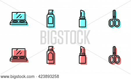 Set Line Lipstick, Makeup Powder With Mirror, Spray Can For Hairspray And Scissors Icon. Vector