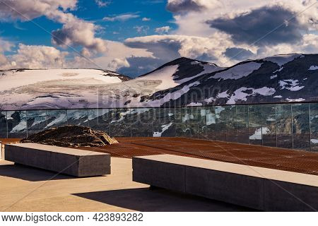 Fantastic View On Mountains Landscape From Dalsnibba Viewpoint, Geiranger Skywalk Platform Floor Sur