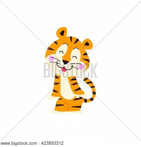 Cute Little Tiger Character Stand Smiling Isolated On White Background. Vector Flat Hand Drawn Style