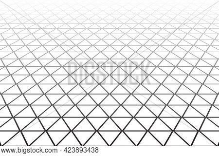 Triangles, diamonds and  hexagons geometric latticed texture. Diminishing perspective view.