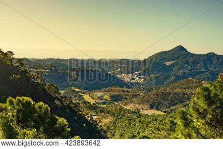 Green Mountains View, Region Between Marbella And Ronda Town, Andalucia Landscape In Spain.