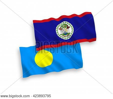 National Fabric Wave Flags Of Belize And Palau Isolated On White Background. 1 To 2 Proportion.