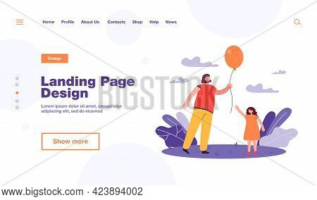 Mother With Balloon For Daughter. Cartoon Woman Holding Balloon And Girl Walking In Park Flat Vector