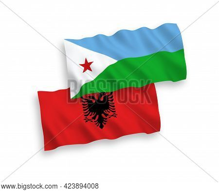National Fabric Wave Flags Of Republic Of Djibouti And Albania Isolated On White Background. 1 To 2