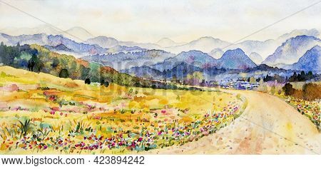 Watercolor Landscape Painting Panorama Colorful Of Mountain Range Beautiful Flower Field Tree And Fa