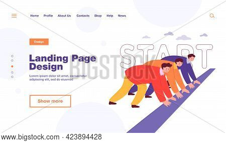 Office Workers Standing Ready On Start Line Isolated Flat Vector Illustration. Cartoon Employees Com
