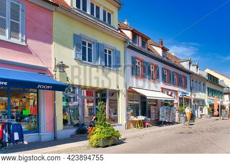 Bad Dürkheim, Germany - April 2021: Shopping Street With Small Stores At Town Square Called