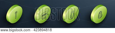 Set Isometric Line Barbecue Spatula, , Meat Tongs And Steak Meat Icon. Vector