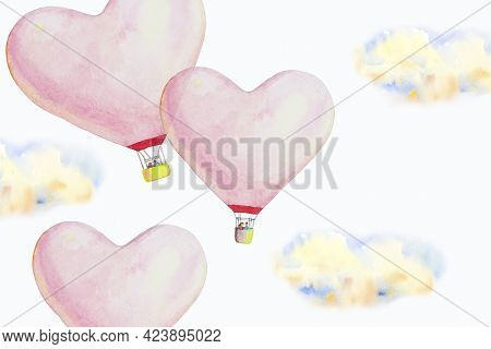 Red Pink Heart Hot Air Balloon And Clound Is Placed On A White Background, Watercolor Design Illustr