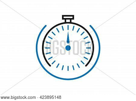 Stopwatch Or Timer With The Fast Time Count Down Icon, Line Outline Chronometer Symbol, Or Pictogram