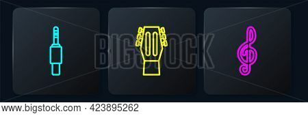 Set Line Audio Jack, Treble Clef And Guitar. Black Square Button. Vector