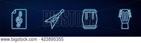 Set Line Drum, Treble Clef, Electric Bass Guitar And Guitar. Glowing Neon Icon On Brick Wall. Vector