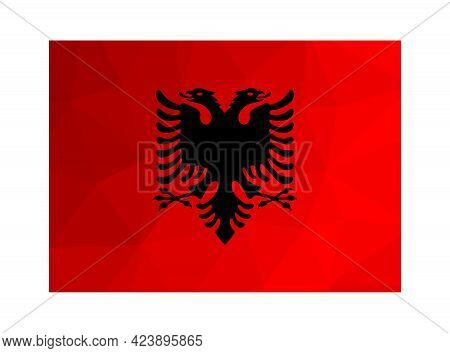 Vector Isolated Illustration. National Albanian Flag With Red Background, Black Double-headed Eagle.