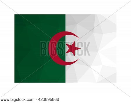 Vector Isolated Illustration. National Algerian Flag With Bands Of Green And White, Red Star And Cre