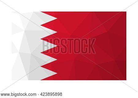 Vector Isolated Illustration. National Bahraini Flag With Red And Whie Colors. Official Symbol Of Ba