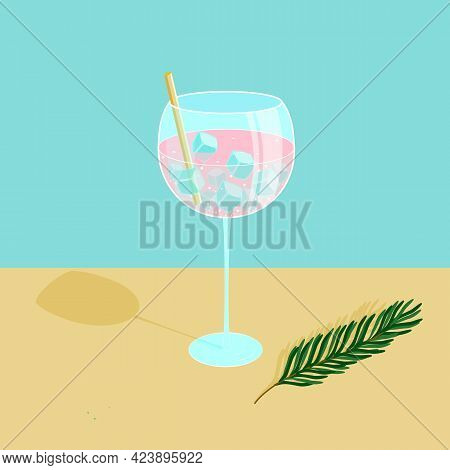 Cocktail In A Glass With Ice Cubes And A Straw. Rosemary Is Laying On The Table. Gin And Tonic. Vect