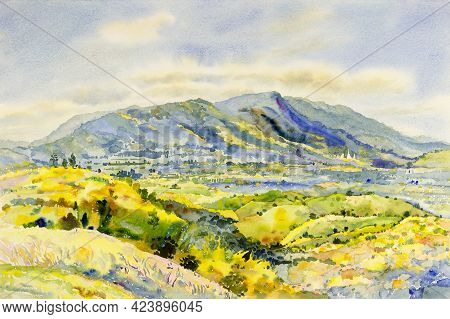 Watercolor Landscape Painting Panorama Colorful Of Mountain Natural Beauty Tree In The Khao Kho Of T