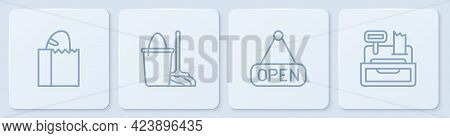 Set Line Paper Bag With Bread Loaf, Hanging Sign Open, Mop And Bucket And Cash Register Machine. Whi