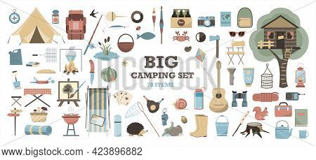 Big Vector Set For Camping. Equipment For Hiking, Mountaineering And Camping-a Set Of Icons And Info