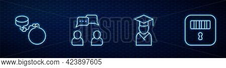 Set Line Graduate And Graduation Cap, Ball Chain, Speech Bubble Chat And Prison Cell Door. Glowing N
