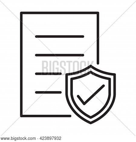 Contract Coverage Icon Vector Insurance Policy Symbol Risk Coverage Document Sign For Graphic Design