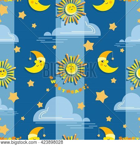 Cartoon Sun, Month. Day, Night. Baby Vector Background. Moon, Sun And Cloud On Striped Background.