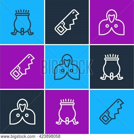 Set Line Witch Cauldron, Mantle, Cloak, Cape And Hand Saw Icon. Vector