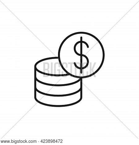 Dollar Coin. Money coin icon. Dollar Coin icon Vector Illustration. Coin icon. Coin Vector. Dollar Coin vector. Dollar Coin Stack icon vector. Coin icon logo template. Dollar Coin vector icon flat design for web, icon, logo, sign, symbol, app