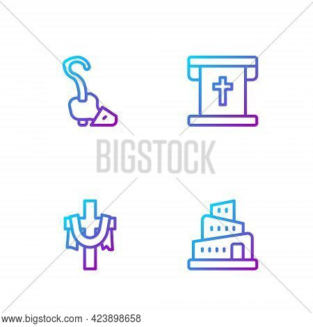 Set Line Babel Tower Bible Story, Christian Cross, Magic Staff And Flag With Christian. Gradient Col