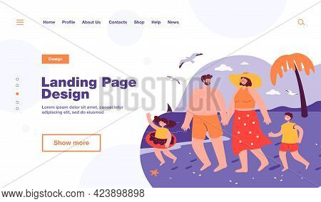 Happy Family On Beach. Mother, Father, Son And Daughter Going Swimming In Sea Together Flat Vector I
