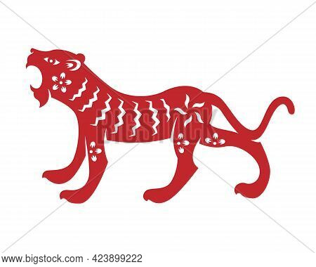 Red Chinese Zodiac Animals Papercutting Tiger Vector Design