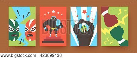 Set Of Contemporary Art Posters With Mexican Wrestlers. Vector Illustration. .colorful Collection Of