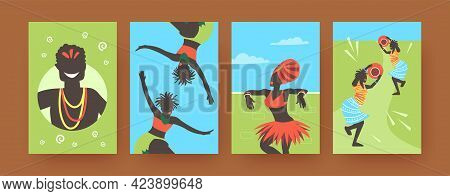 Set Of Contemporary Art Posters With African Dancing People. Vector Illustration. .colorful Collecti