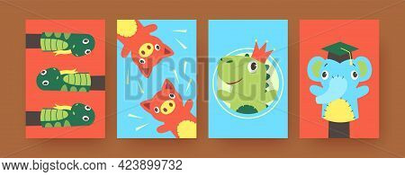 Set Of Contemporary Art Posters With Funny Hand Sock Toys. Vector Illustration. .colorful Hand Sock