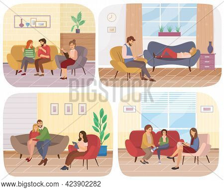 Set Of Illustrations About Consultation With Psychologist. Conversation Between People And Psychothe