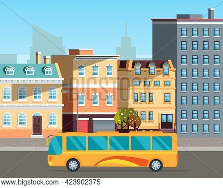 Empty Street With Bus In Urban Town. Bus On Road Nature Landscape. Public Transport For Transporting
