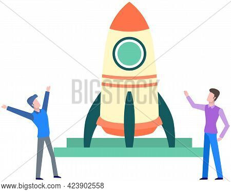 People Rejoice At Launch Of Rocket. Teamwork And Startup Concept. Happy Businesspeople Launching Bus