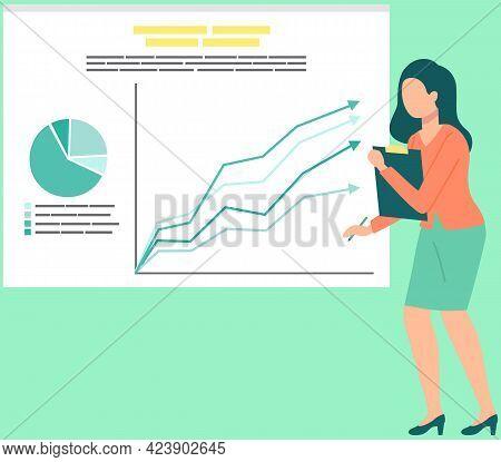 Business Woman Analysing Sales Statistics Graphs On Presentation Screen. Brainstorming Statistical D