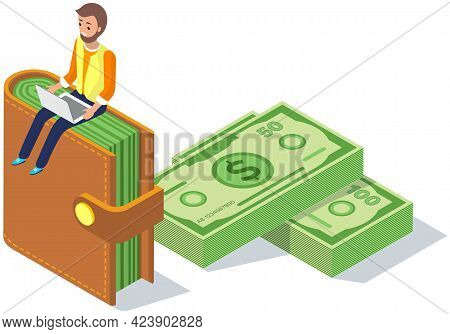 Man Works On Laptop In Banking. Money, Bills And Foreign Currency Concept. Businessman With Laptop S