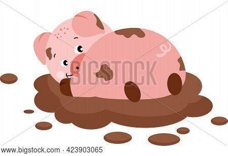Scalable Vectorial Representing A Cute Pig Playing In The Mud, Element For Design, Illustration Isol