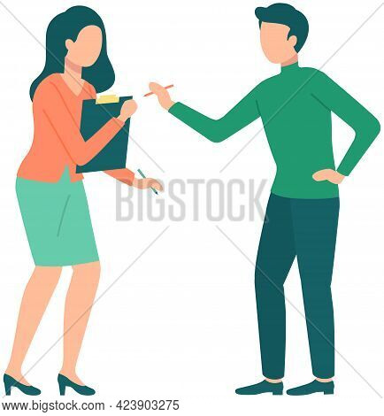 Arguing People Vector Illustration. Man And Woman Disputing About Something Isolated On White Backgr