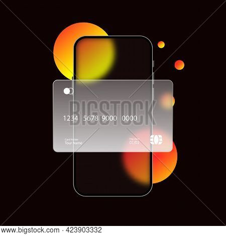 Glassmorphism Style. Phone With Credit Card Icon. Cashless Payment. Realistic Glass Morphism Effect