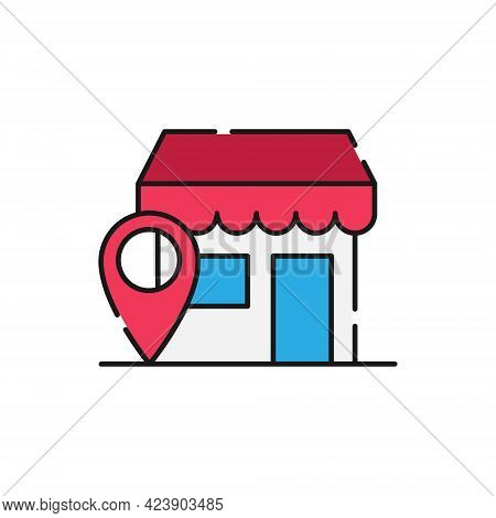 Store with Location icon. Store icon. Store with Location icon vector. Store icon set. Store symbol. Store vector. Store sign. Online Store icon. Online Store logo. Store with Location icon design for website, icon, logo, sign, symbol, app UI