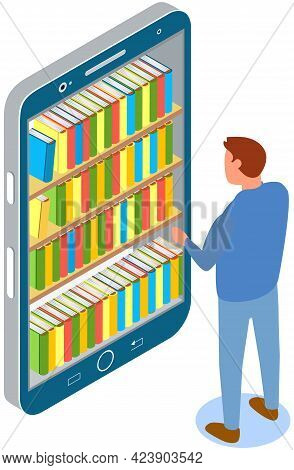 Man Chooses Book In Digital Online Library Or Bookstore In Smartphone App. Distance Education With M